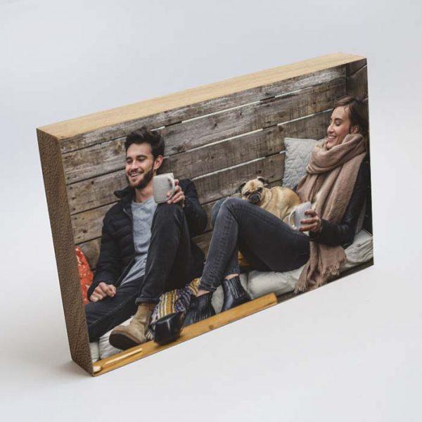 foto en taco de madera