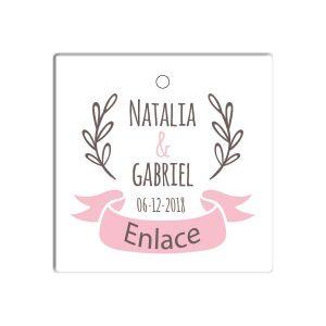 etiqueta cuadrada para boda