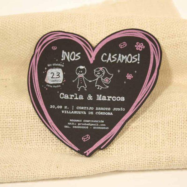 invitacion de boda en forma de corazon