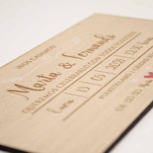invitaciones de boda madera