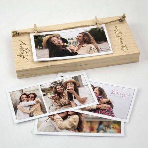 taco de madera con fotos